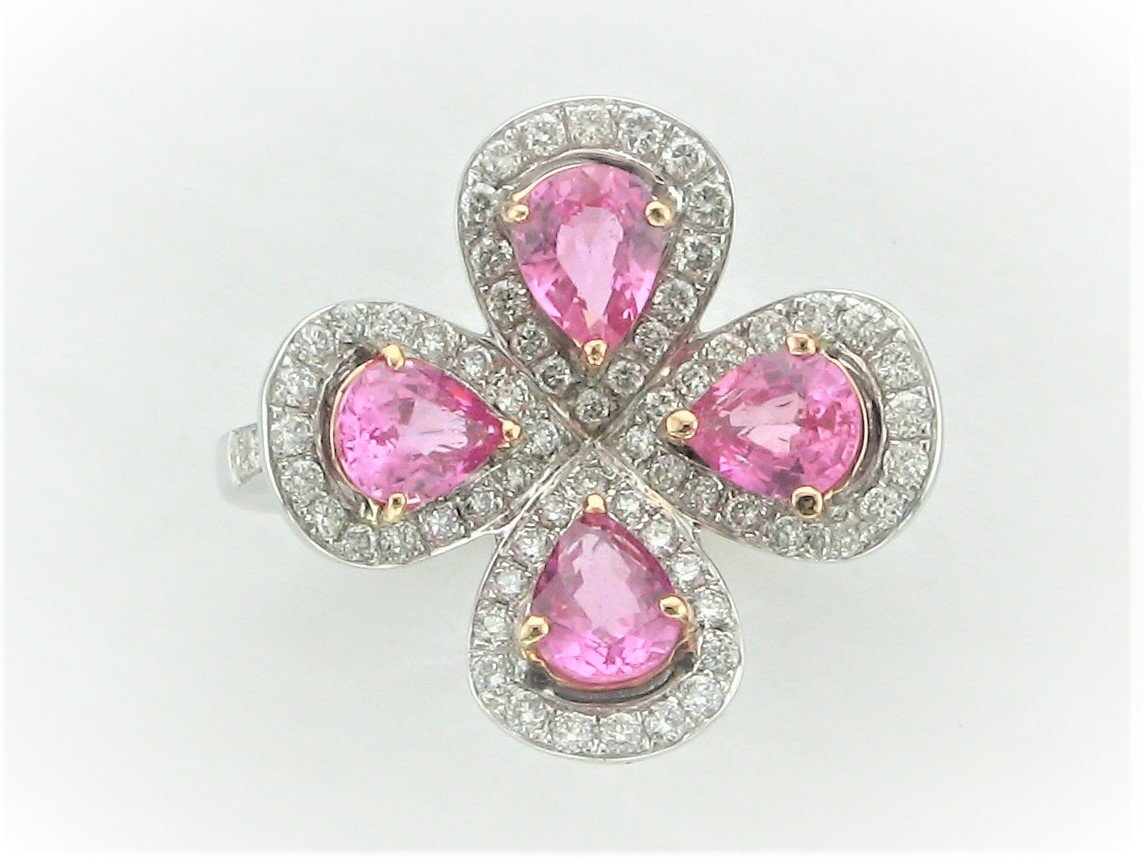 Pink Sapphire and Diamond Flower RIng set in 18 Karat White Gold