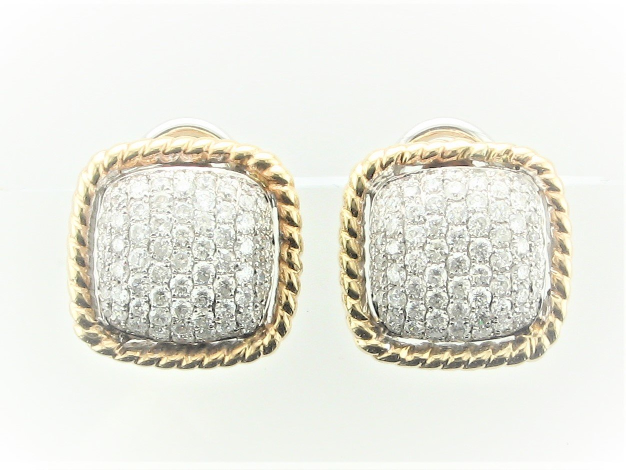 0.50 Total Carat Weight Diamond Earrings Set in 14 Karat Two Tone Yellow & White Gold