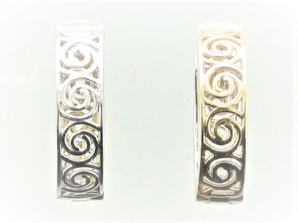 Reversible Huggie Earrings set in 10 Karat Two Tone Yellow & White Gold