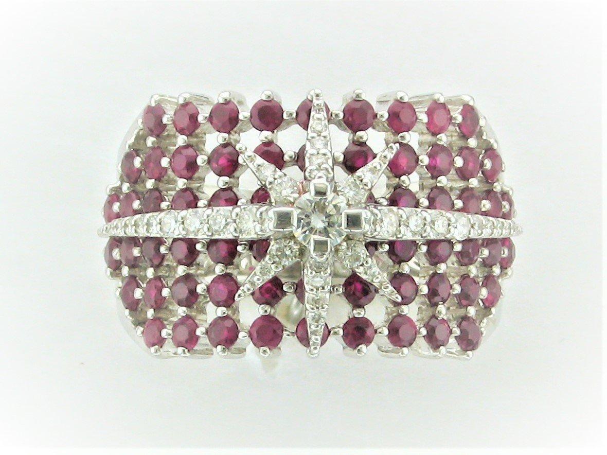 2.01 Carat Ruby and Diamond Ring Set in 14 Karat White Gold