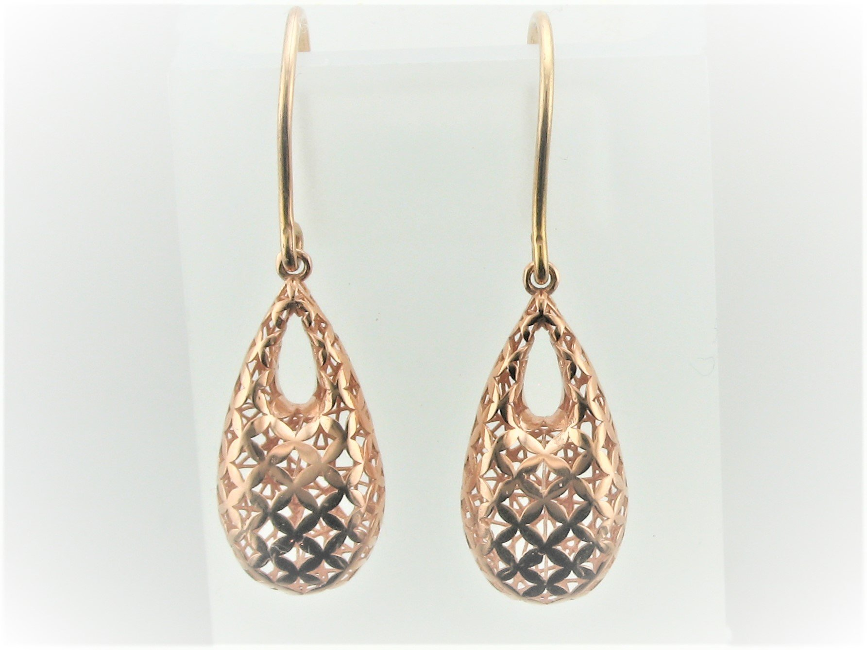 3-D Open Teardrop Earrings set in 14 Karat Rose Gold
