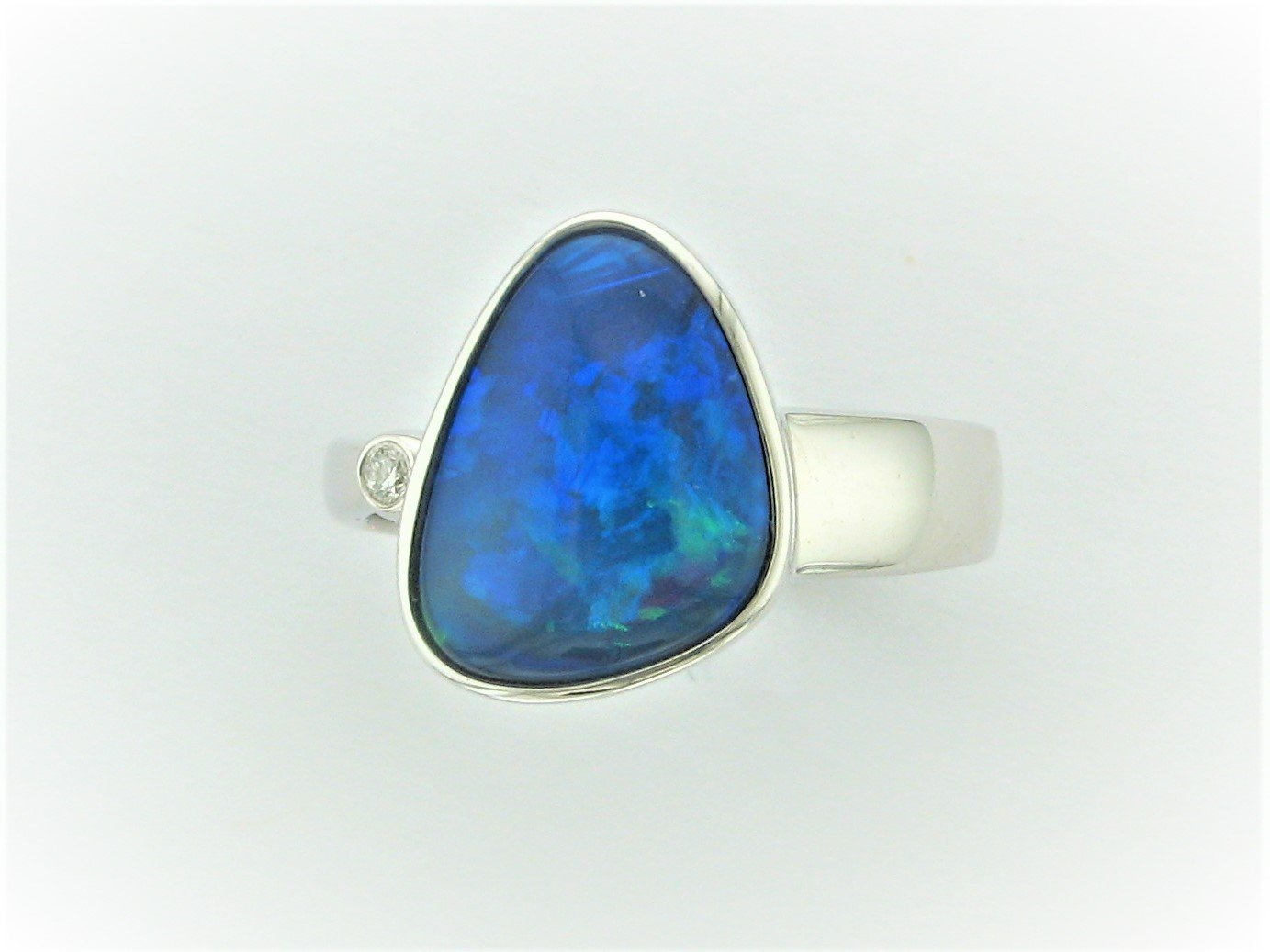 Free - Form Opal Doublet and Diamond Ring Set in 14 Karat White Gold