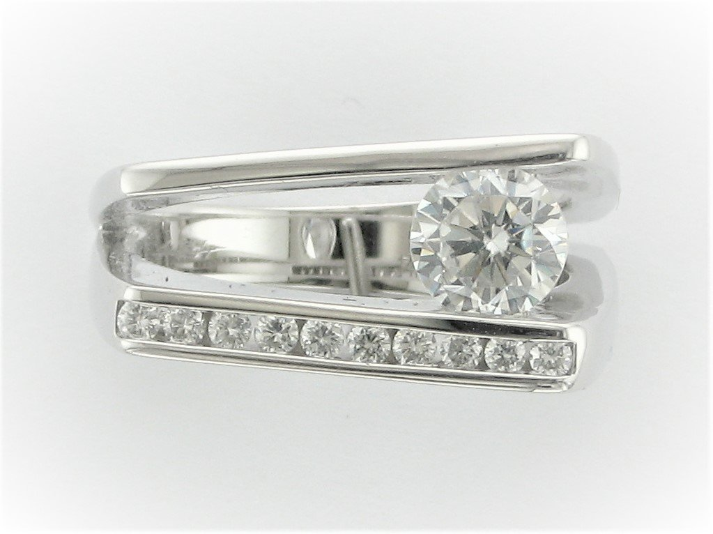 Bridal Semi-Mount with Diamond Accents and Cz Center Stone Ring Set in 14 Karat White Gold