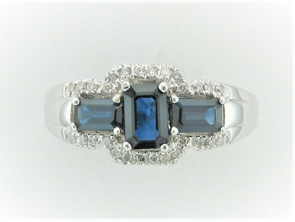 1.28 Total Carat Weight Sapphire & Diamond Ring set in 14 Karat White Gold