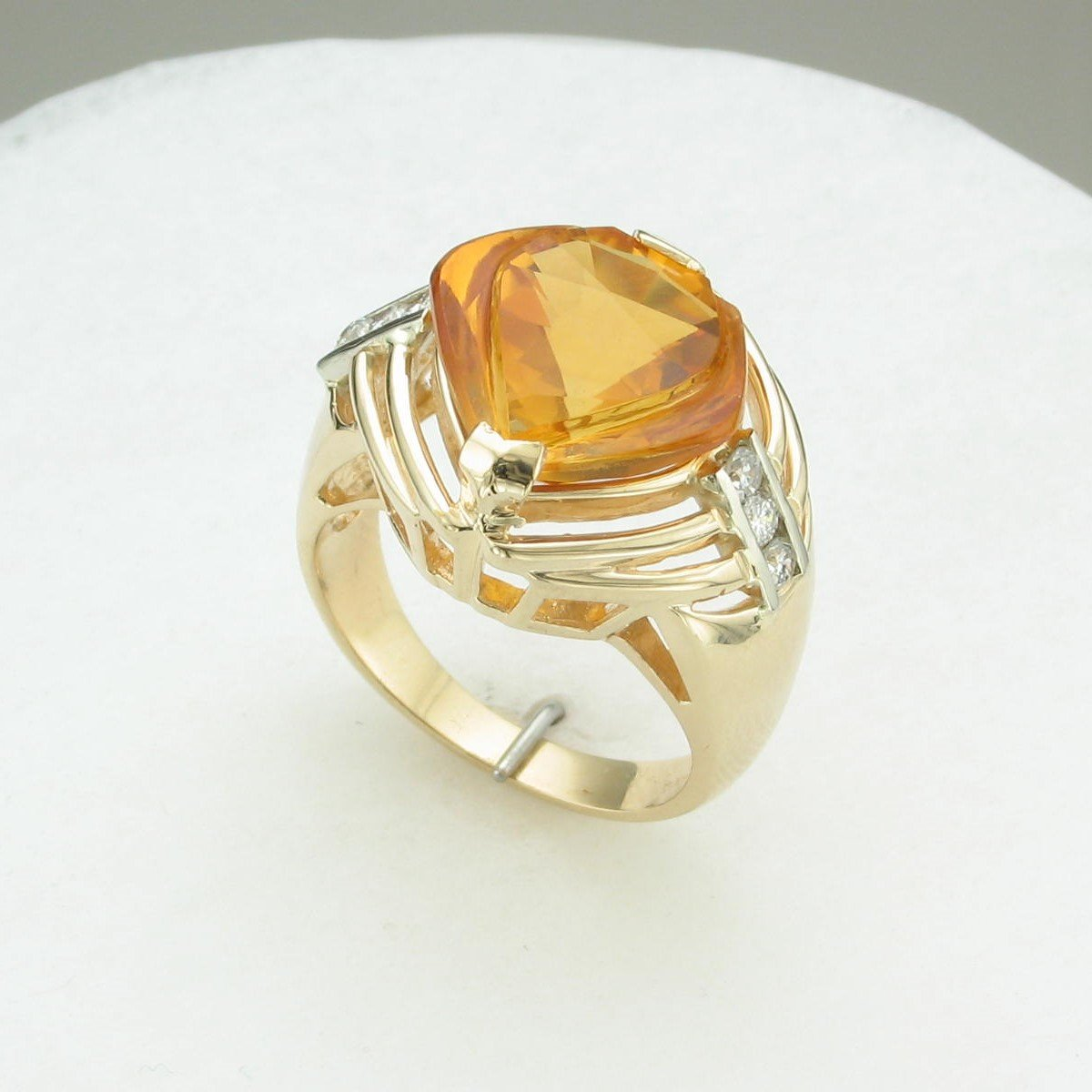 Fantasy Cut Ctitrine with Diamond Accent Ring set in 14k Yellow Gold