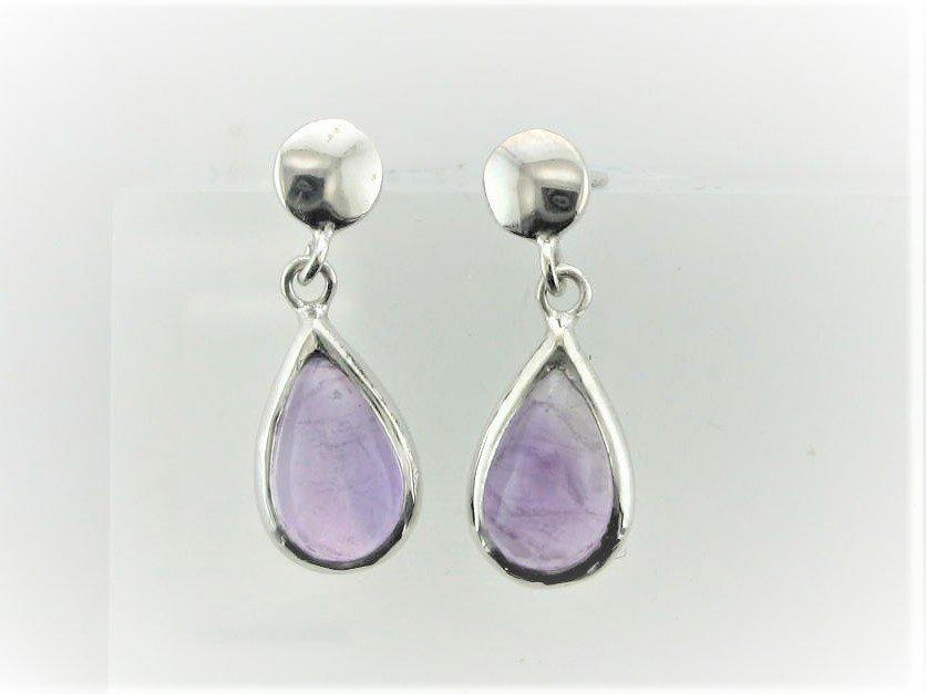 Amethyst Pear Shape Earrings Set in Sterling Silver