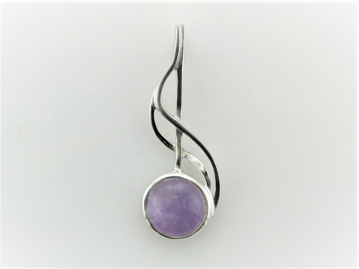 Round Amethyst  Pendant Set in Sterling Silver