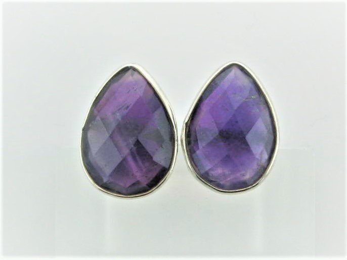 Faceted Pear Shaped Amethyst Earrings Set in Sterling Silver