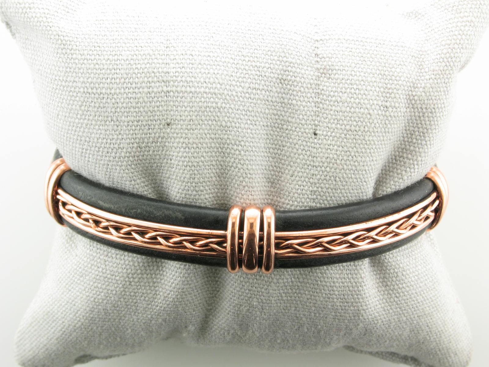 Copper & Black Leather Cuff Bracelet
