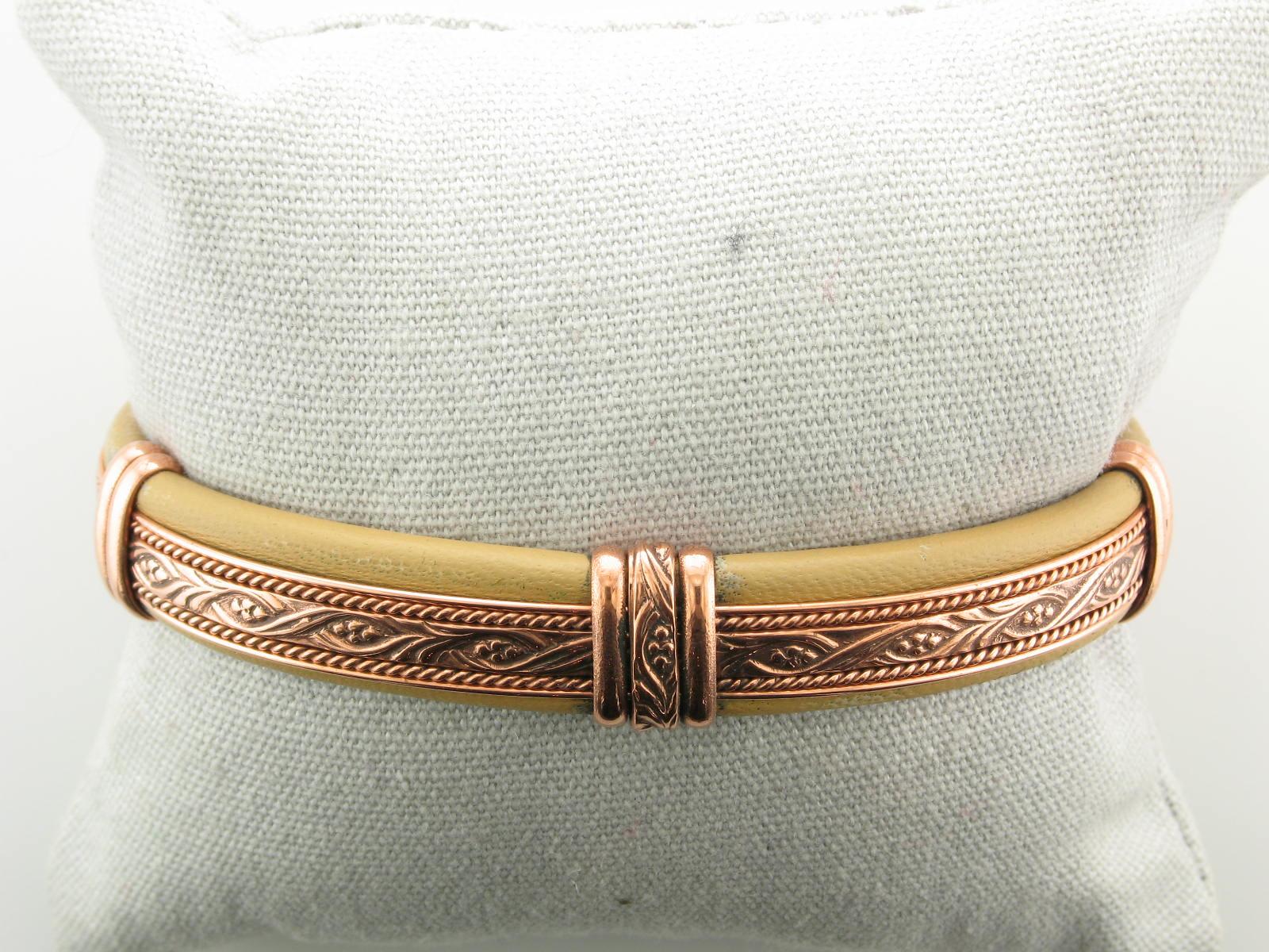Copper & Tan Leather Cuff Bracelet