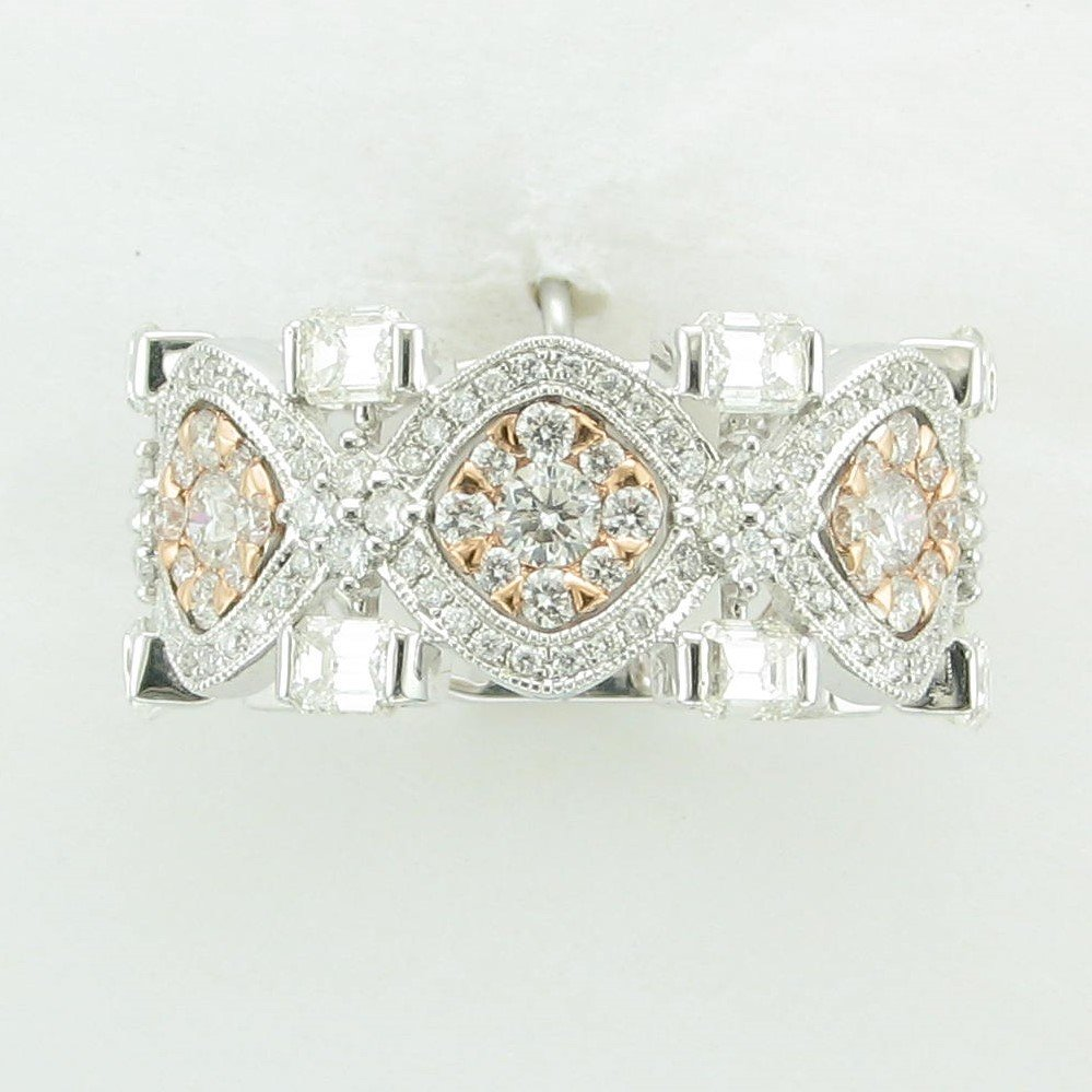 14K White Gold with Rose Gold Accents Diamond Ring