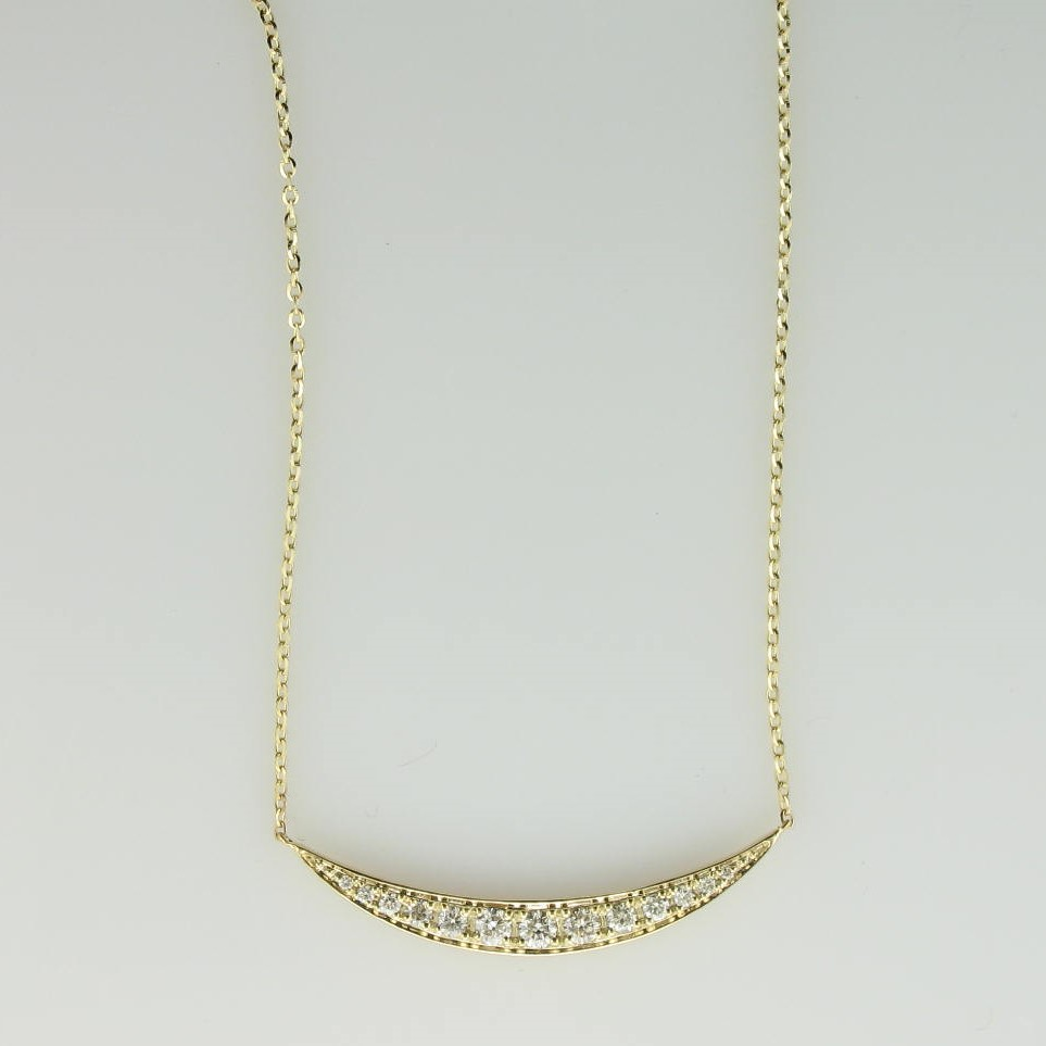 0.22tcw Curved Bar Diamond Necklace set in 14k Yellow Gold
