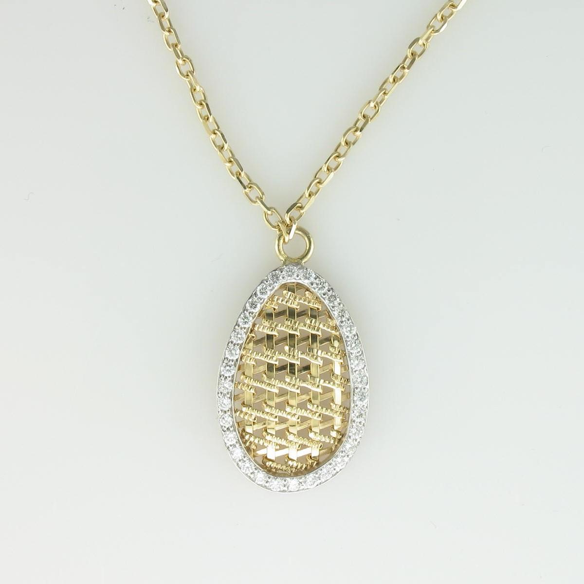 0.45tcw Diamond Necklace Set in 14 Karat Yellow Gold