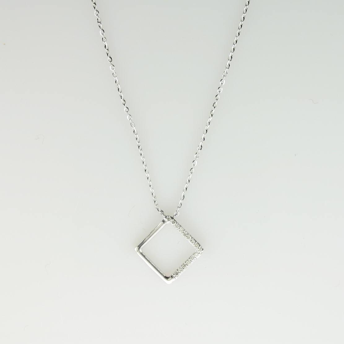 0.06tcw Diamond Shaped Diamond Necklace set in 14k White Gold