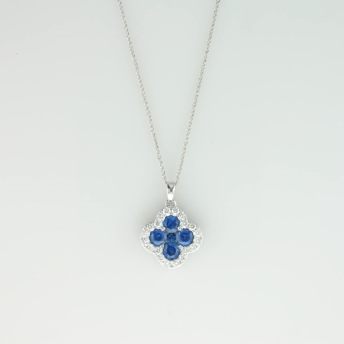 1.21tcw Sapphire & Diamond Necklace set in 14k White Gold