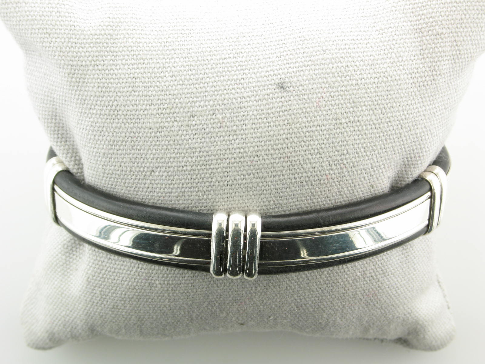 Silver & Black Leather Cuff Bracelet