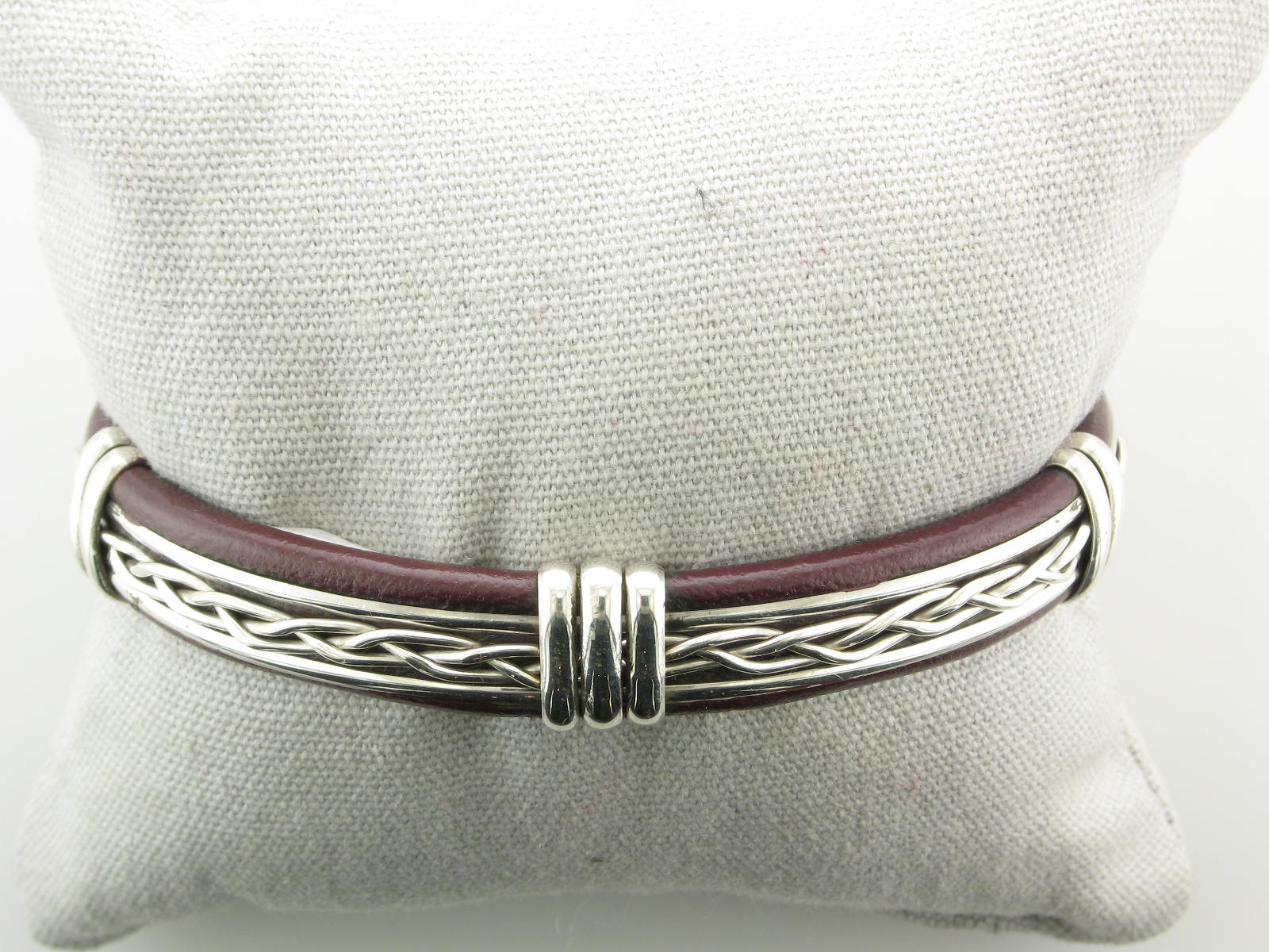 Sterling Silver Twist Design & Brown Leather Cuff Bracelet