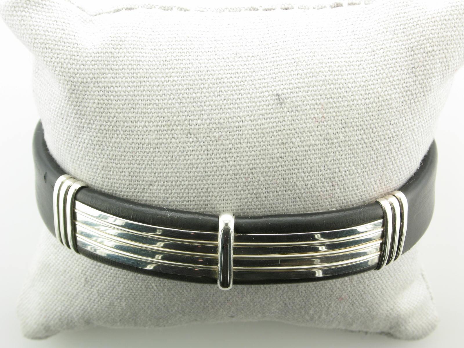 Wide Sterling Silver & Black Leather Cuff Bracelet
