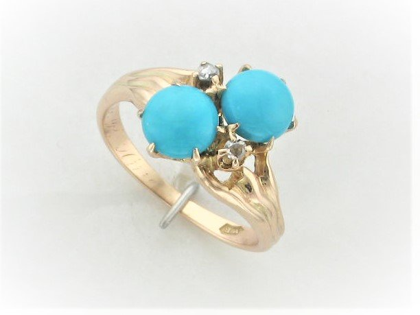 Vintage Sleeping beauty Turquoise Ring with diamond accents Set in 14 Karat Yellow gold