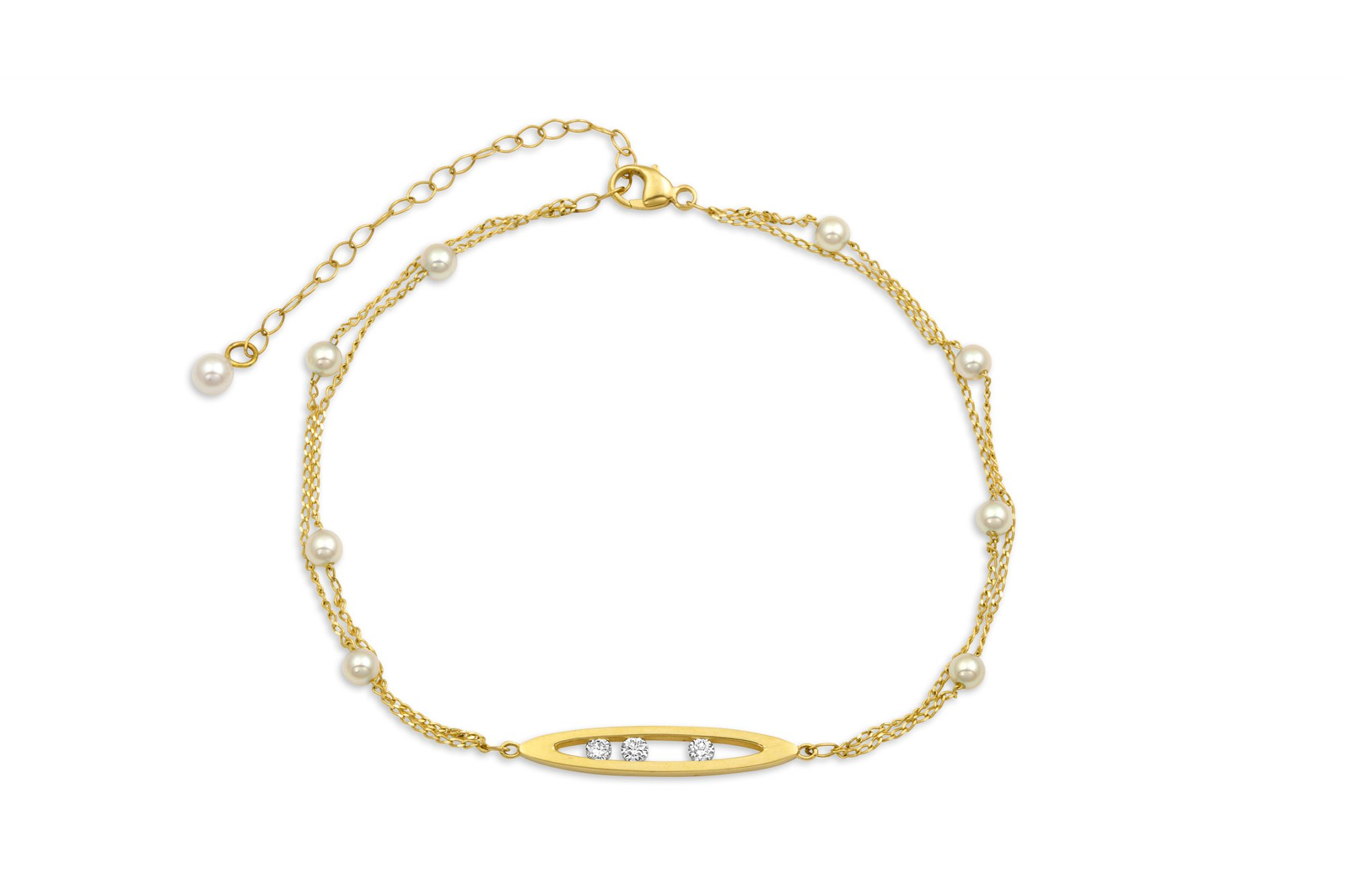 7-9  Pearl And Chain Bracelet With Diamond Set Marquise Centerpiece set in 14k Yellow Gold