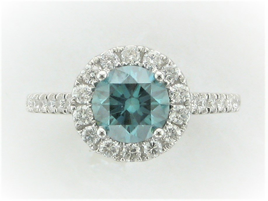 1.36 Total Carat Round Irradiated Blue Diamond Ring with halo set in 14 Karat White Gold