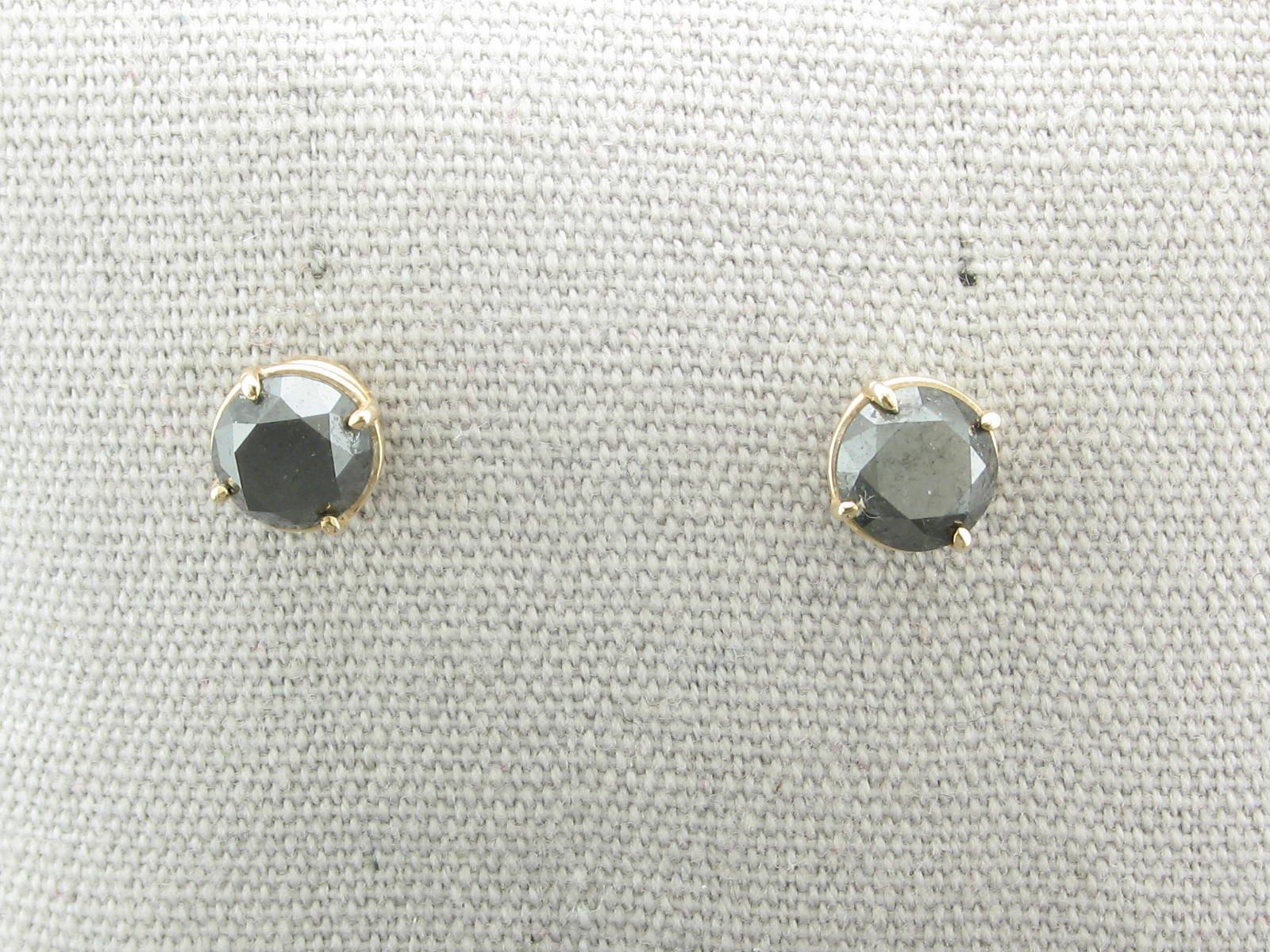 2tcw Black Black Diamond Stud Earrings Set in 14K Yellow Gold