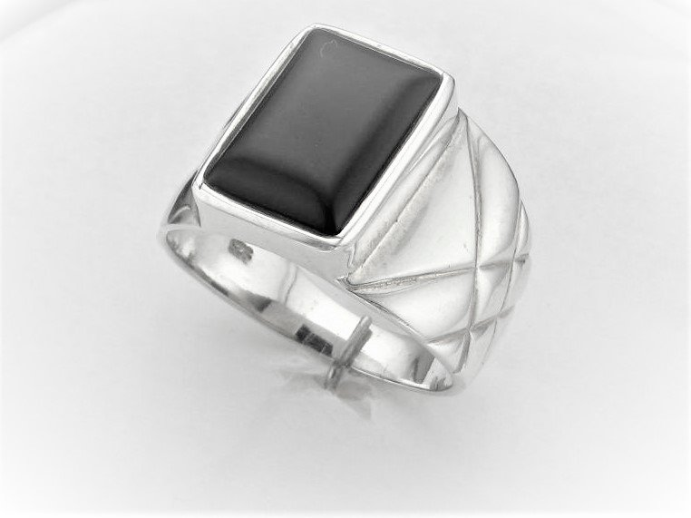 Rectangular Black Onyx Ring Set in Sterling Silver