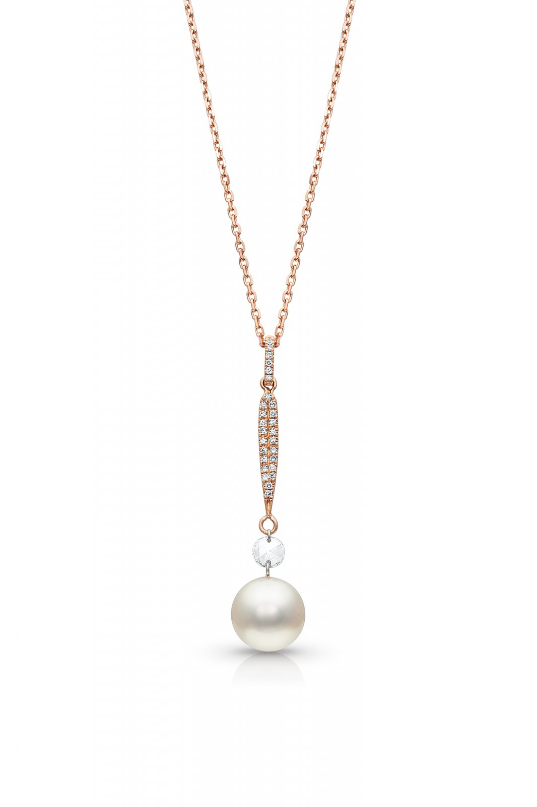18 Akoya Cultured Pearl with Rose Cut Diamond Necklace set with 14k Rose Gold