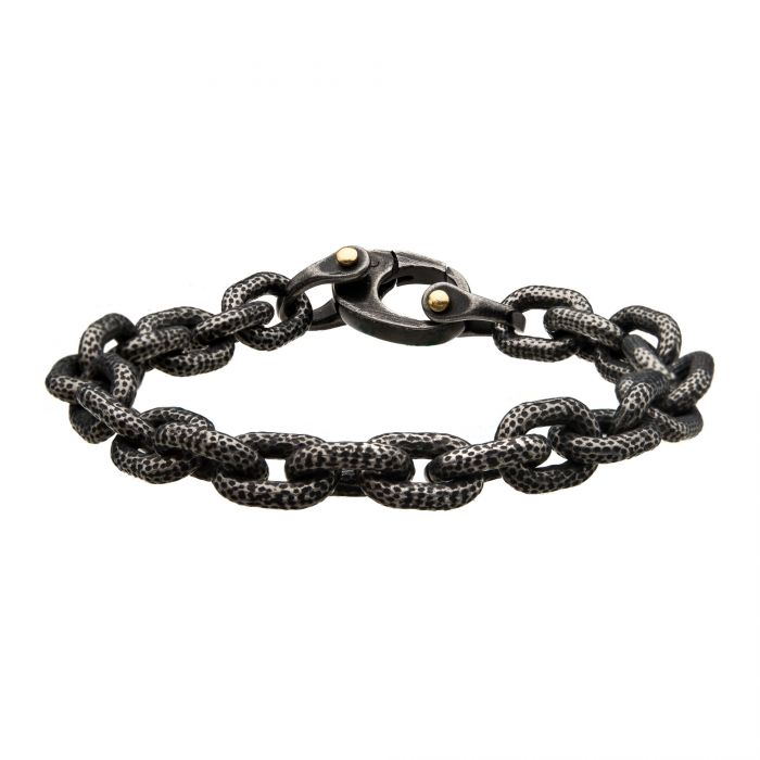 Antiqued Gun Metal Curb Chain Link Bracelet
