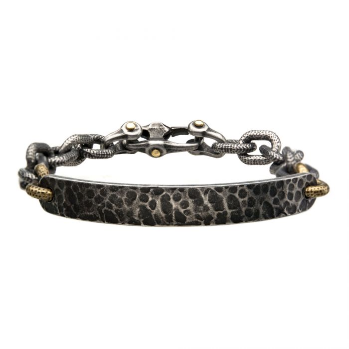 Antiqued Gun Metal Distressed Mariner Curb Chain Link ID Bracelet