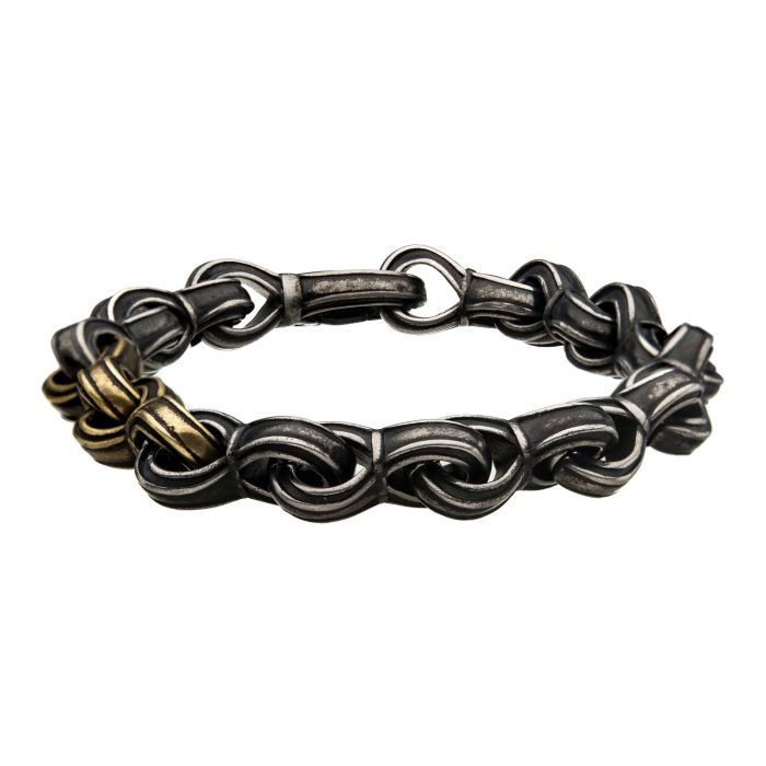 Antiqued Gun Metal Steel and Gold Plated Curb Chain Link Bracelet
