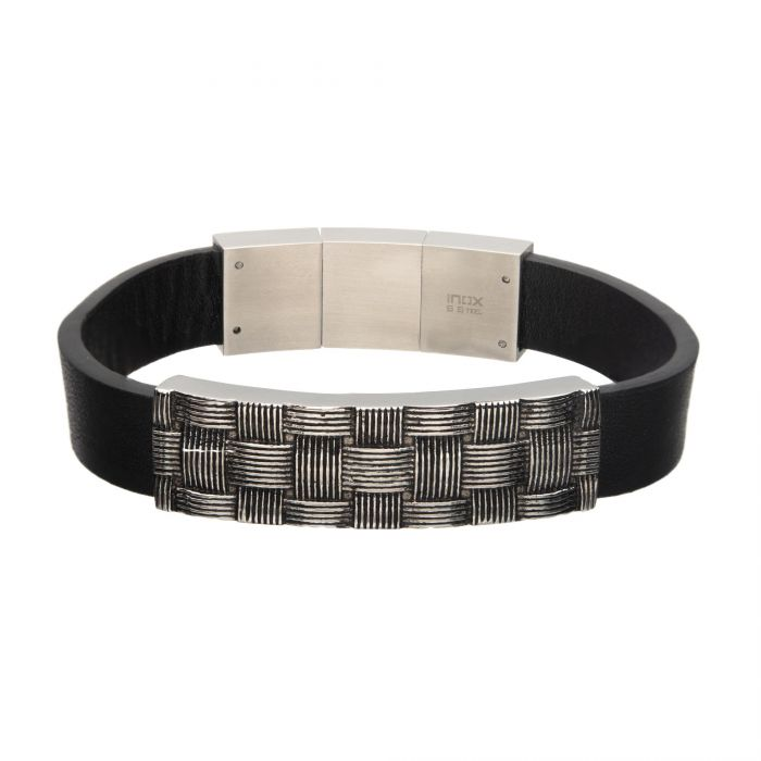Stainless Steel with Antiqued Finish Weave Pattern ID Black Leather Bracelet