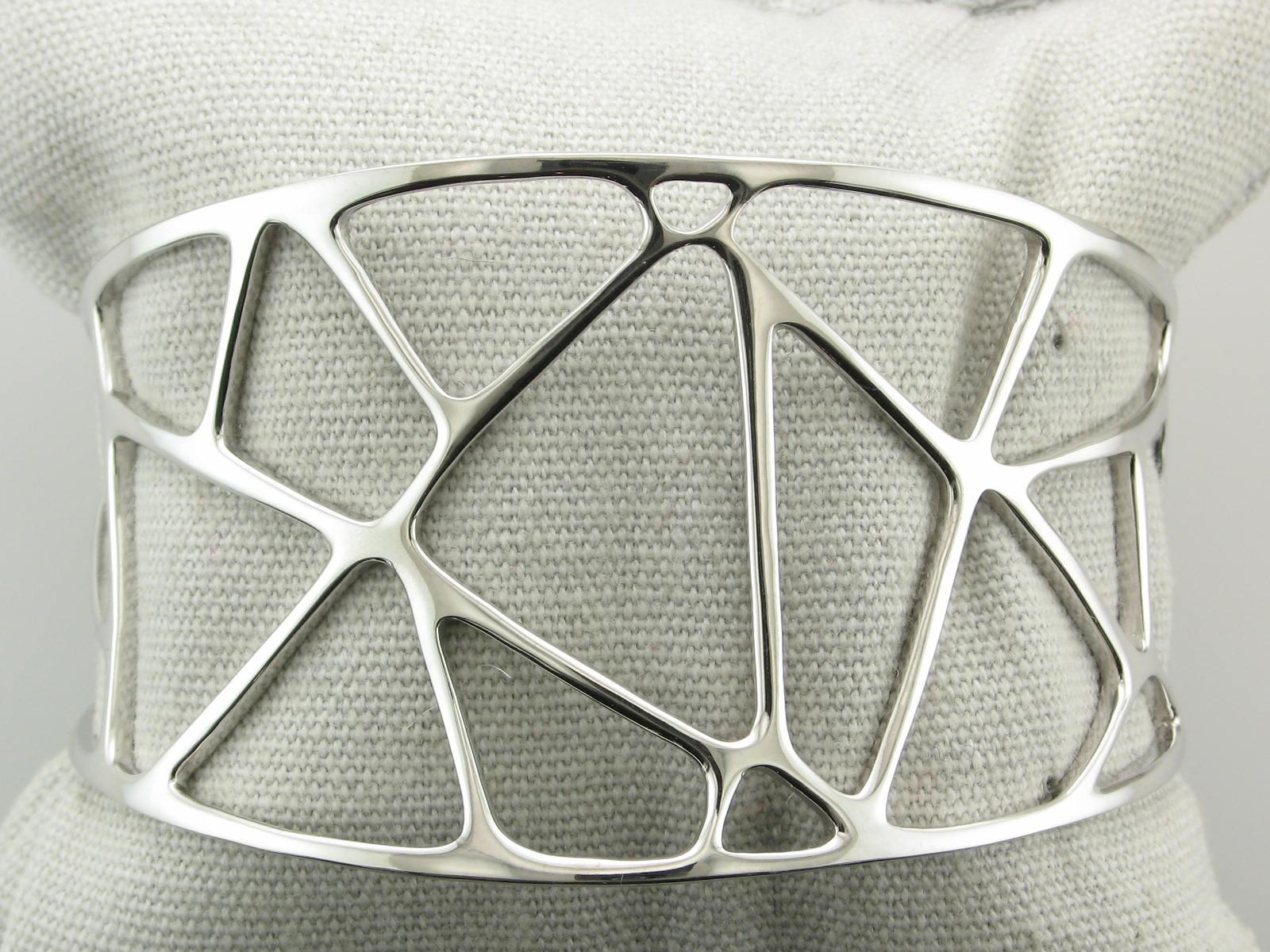 Open Geometric Sterling Silver Cuff Bracelet