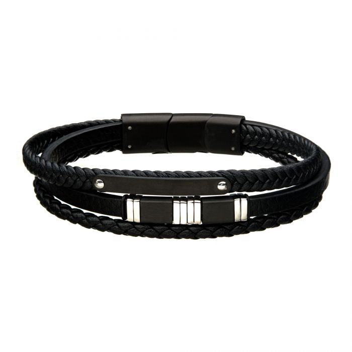 Men's Black Leather with Black & Steel Bar Bracelet