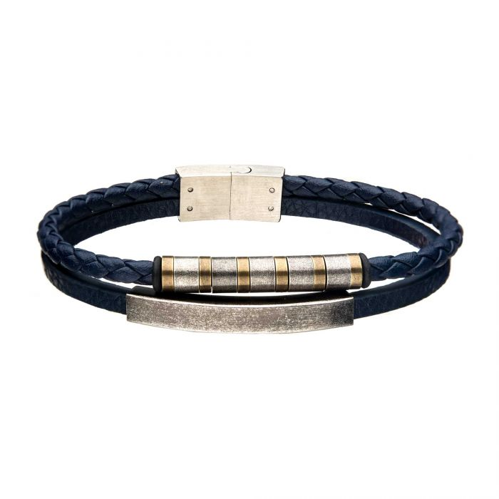 Blue Leather with Stainless Steel Bar Bracelet