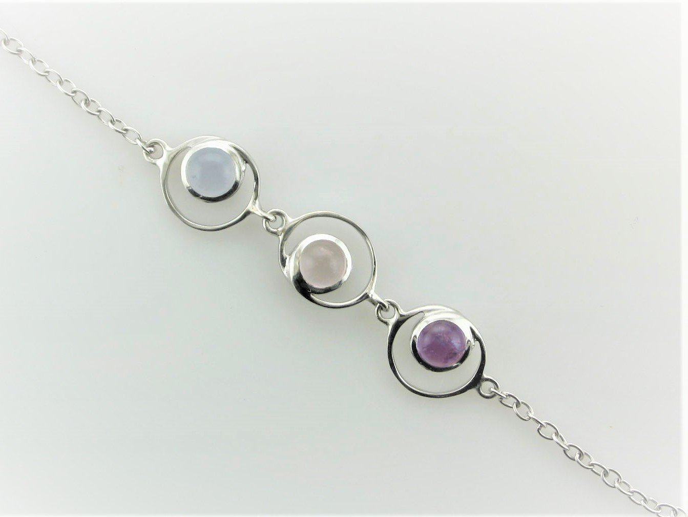Chalcedony, Rose Quartz And Amethyst Bracelet Set in Sterling Silver