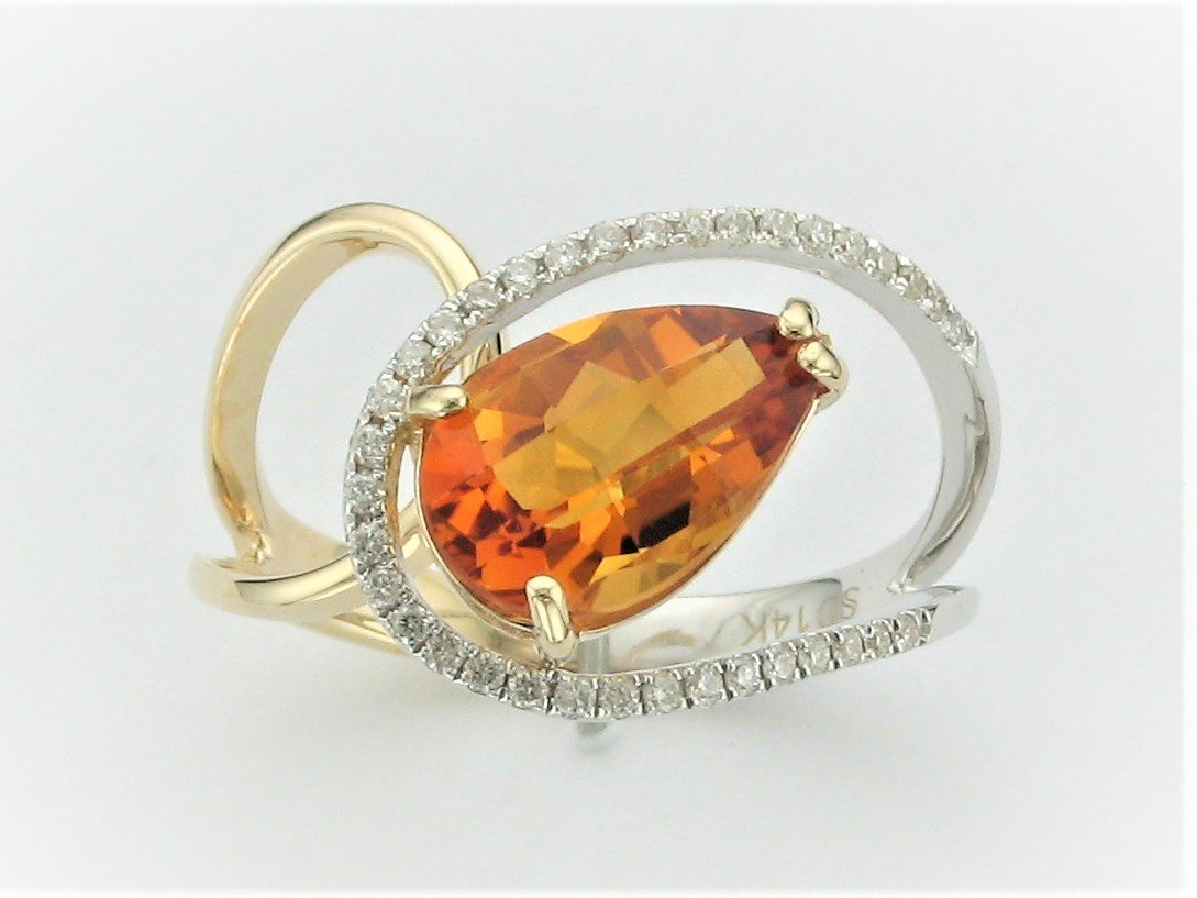 2.5 Carat Pear Citrine and Diamond Ring in 14 Karat Yellow and White Gold
