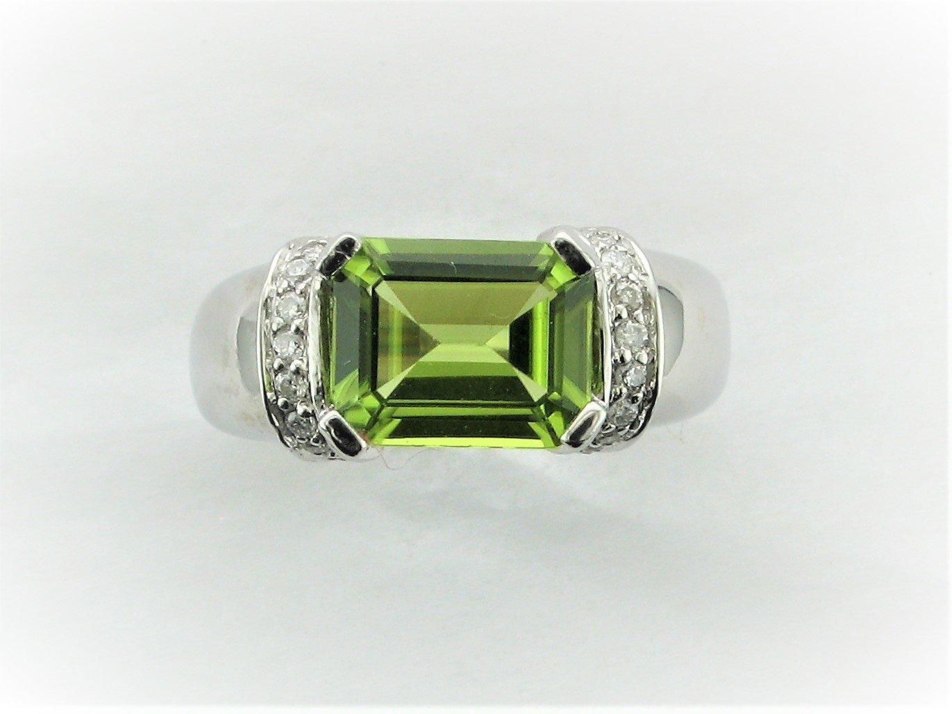 3.65 Total Carat Arizona Peridot and Diamond Ring Set in 14 Karat White Gold