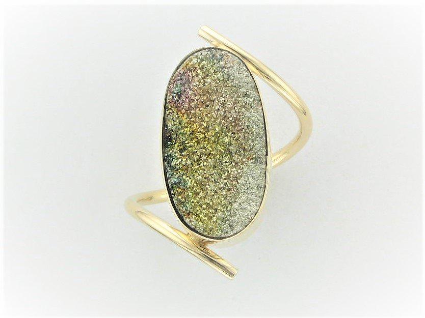Rainbow Pyrite Druzy Ring Set in 14 Karat Yellow Gold