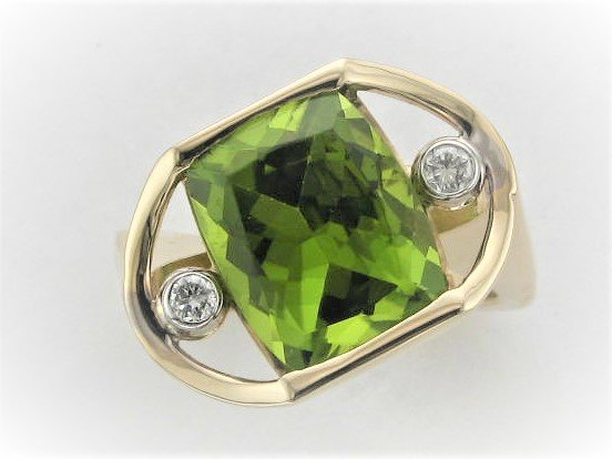 7.01 Total Carat Peridot and Diamond  Ring Set in 14 Karat Two Tone Yellow and White Gold