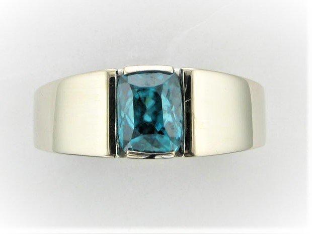 Men's 6 Carat Blue Zircon Ring Set in 14 Karat White Gold