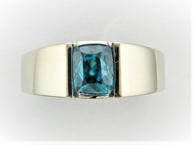 Men's 6 Carat Blue Zircon Ring Set in 14 Karat White Gold