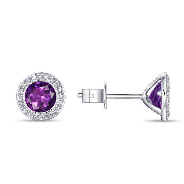 1.33tcw Amethyst & Diamond Halo Earrings set in 14K White Gold