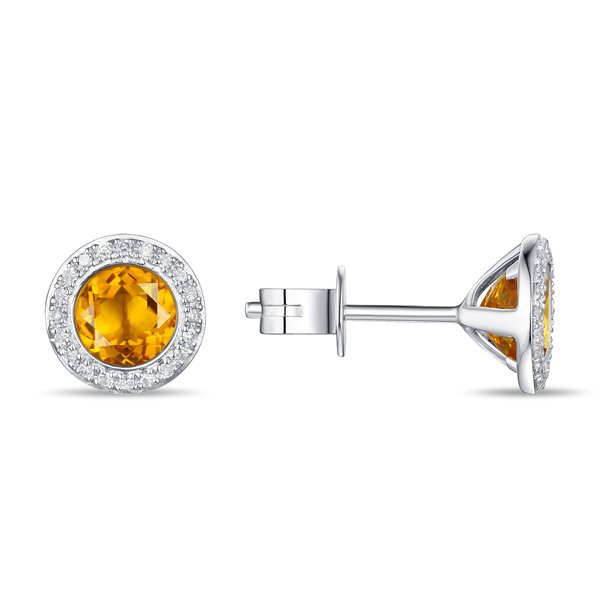 1.41tcw Citrine & Diamond Halo Earrings set in 14K White Gold