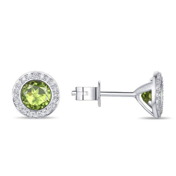 1.39tcw Peridot & Diamond Halo Earrings set in 14K White Gold