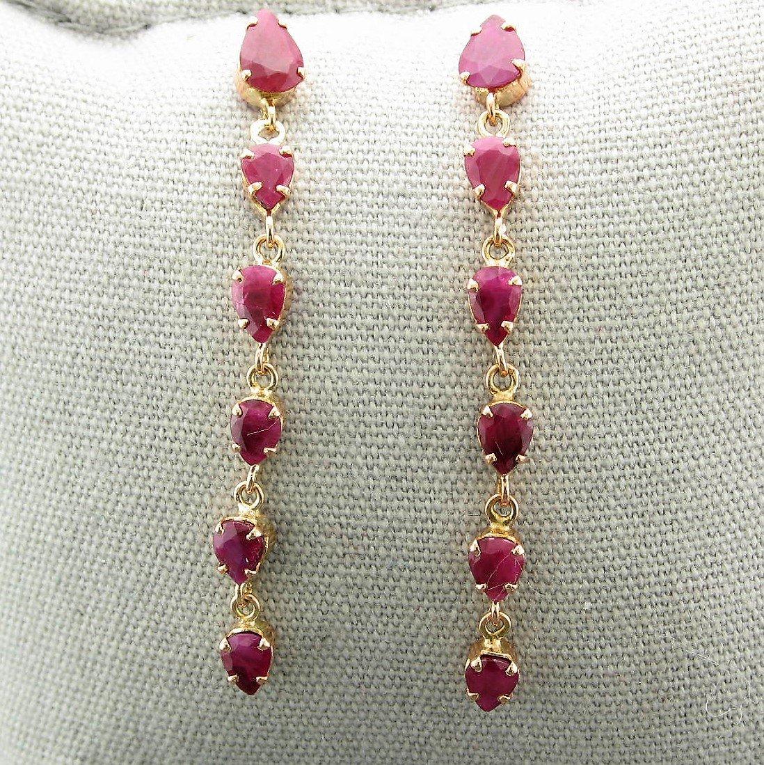 Ruby Drop Earrings set in 14K Rose Gold