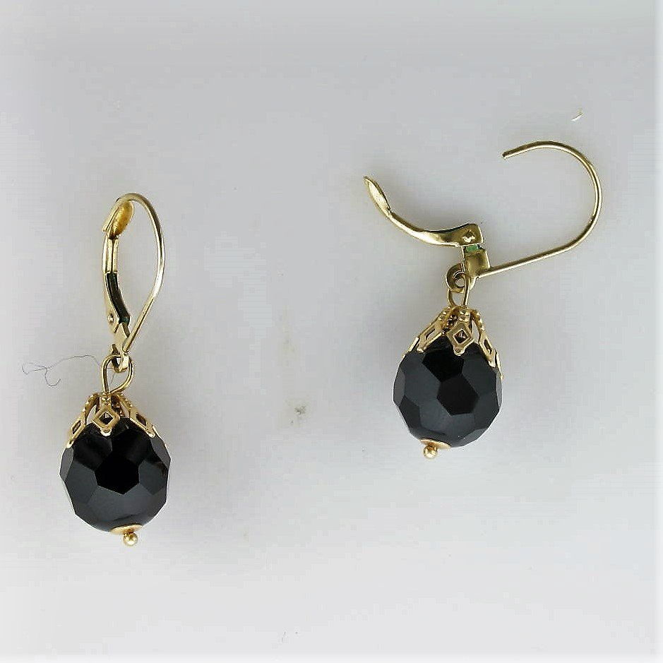 9.25mm Faceted Black Onyx Drop Earrings set in 14K Yellow Gold