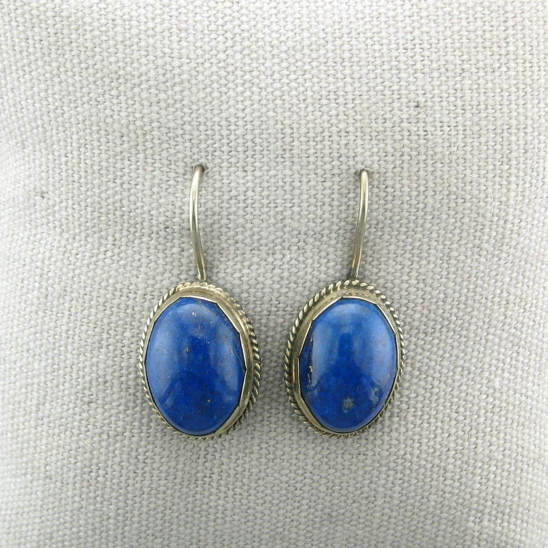 Lapis and Oxidized Sterling Silver Earrings