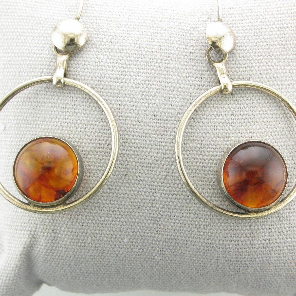 Amber Earrings set in Sterling Silver