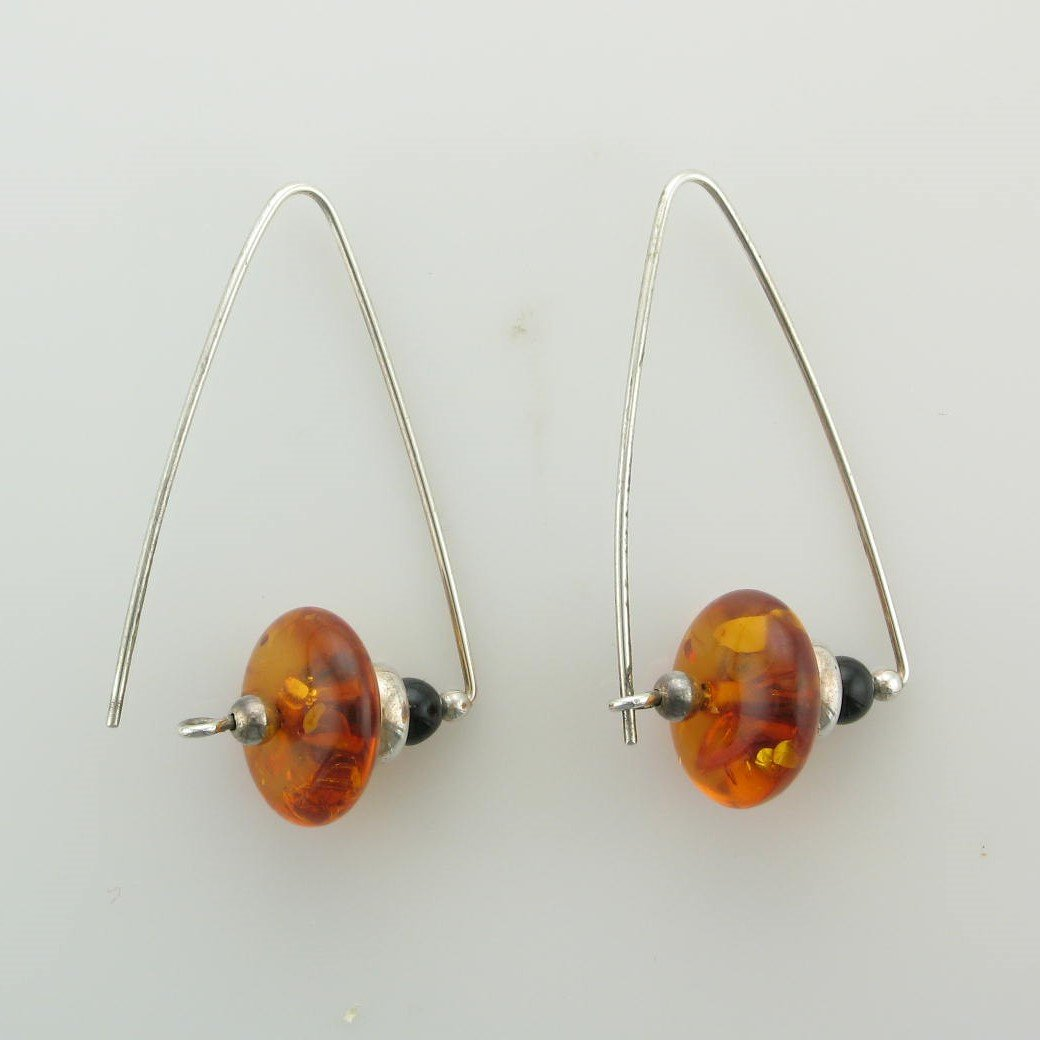 Amber and Black Onyx Bead Earrings with Sterling Silver